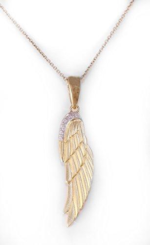 Ailes ange remorque 925 en or 14 carats plaqué avec zircone cubique, y compris la chaîne.