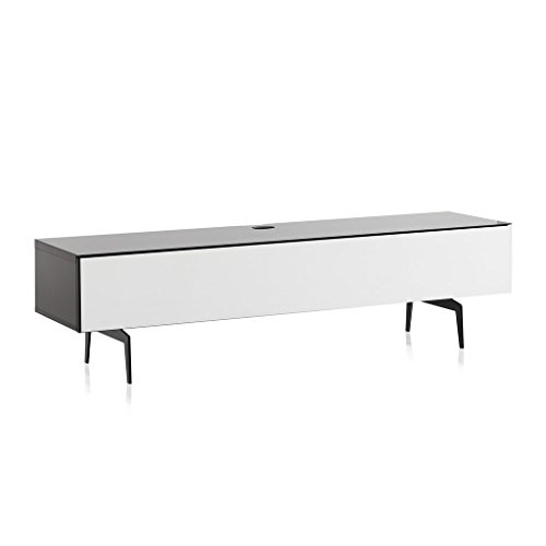 SONOROUS Studio ST-360 Wood and Glass Modern TV Stand with Spike Metal Legs for Sizes up to 75' (Modern Design Cabinet for Your Audio/Video Components and Consoles, Comes with I/R Repeater) - Black