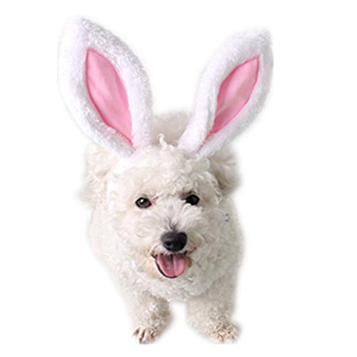 IXIAOPET Dog Cute Costume Bunny Rabbit Hat Headband with Ears for Cats & Dogs Party Costume Easter Halloween Novelty Accessory Headwear (Large)