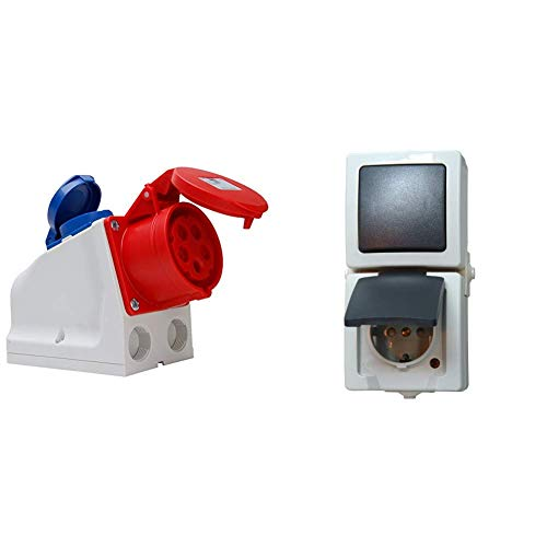Kopp 100400005 CEE Kombiwandsteckdose, 5 und 3-polig & Nautic Steckdose und Schalter Kombination für Feuchtraum, IP44, 250V (16A), Aufputz Schutzkontakt-Steckdose mit Deckel, grau, 138556008