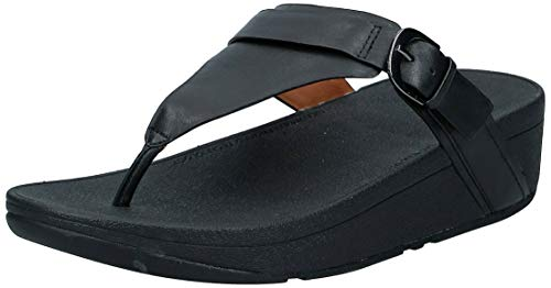 FitFlop Women's Edit Leather Adjustable Toe-Thongs Sandal, Black, 7 M US