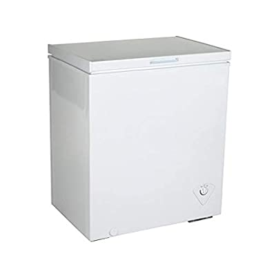 5.5 Cubic Foot (155 Liters) Chest Freezer Refrigerator with Adjustable Thermostat - CFC Free with Compressor Cooling, Removable Storage Basket (White)