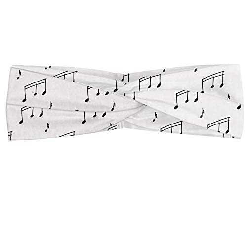 Ambesonne Music Headband, Musical Notes Theme Melody Sonata Singing Song Clef Tunes Hand Drawn Style Pattern, Elastic and Soft Women's Bandana for Sports and Everyday Use, Charcoal Grey