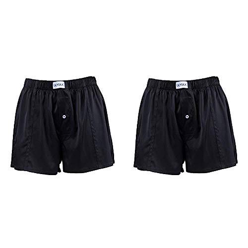 LilySilk Seide Unterhose Herren Unterwäsche Set Verpackung MEHRWEG (XL, 2er Schwarz Boxershorts)