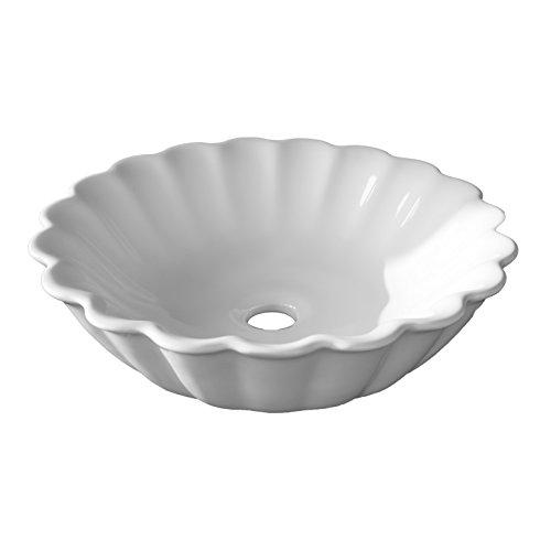 NEG Waschbecken Uno58A (rund) Aufsatz-Waschschale/Waschtisch (weiß) mit gewelltem Rand und Nano-Beschichtung
