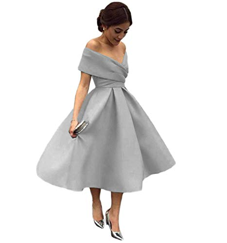 Tsbridal Women V Neck Bridesmaid Dresses Pockets Off Shoulder Wedding Party Dress Silver lace up US 16