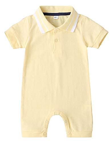 F's MAUMU ベビー服 男の子 女の子 半袖 Tシャツ 無地 ポロシャツ ショートオール ベビー 赤ちゃん 足つき ロンパース つなぎ ズボン ショートパンツ 4色 (イエロー, 80)