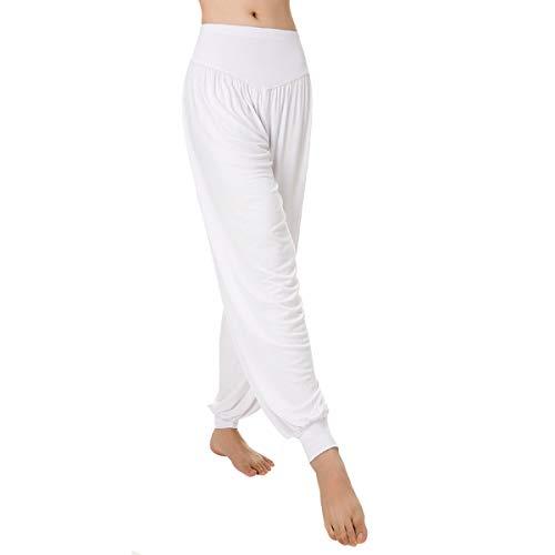 Aivtalk-Sarouels - Pantalón de yoga holgado casual para mujer, bombachos con elástico extensible ideal para hacer deporte o pilates, Blanco, XXL
