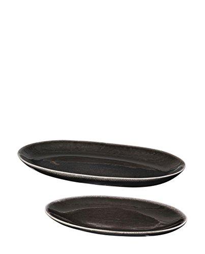 broste Copenhagen - Platte, Servierplatte - Nordic - Farbe: Coal - Keramik - Länge: 35,5 cm