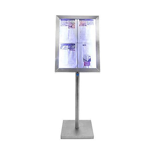 Menühalter LED Classic Edelstahl–12cm (ohne Fuß)–44cm (mit Fuß), 12 cm (sans pied) - 44 cm (avec pied)