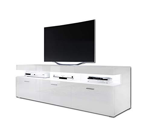 LUK Furniture Vancouver Lowboard TV-Schrank Weiß Hochglanz HG Fernsehschrank TV- Bank Sideboard Lowboard Wohnwand Wohnzimmer