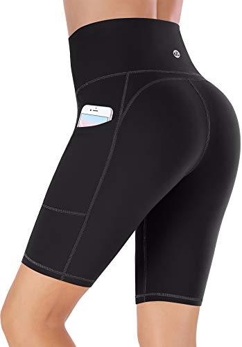 Ewedoos Pantalones cortos de deporte para mujer con bolsillos, pantalones cortos de deporte para mujer, Mujer, Pantalones cortos de yoga, E321 Black, xx-large