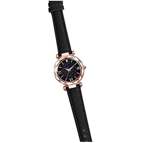 ZNQPLF Reloj para Mujeres Bella Helada Reloj Salpicado De Relojes A Escala Romana. (Color : Black)