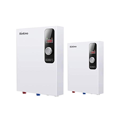 Rinkmo Electric Tankless Water Heater 18KW + 6KW 240V Instant Hot On Demand Residential Electric Water Heater for Bathroom Bathtub rv Whole House Shower Sink Small