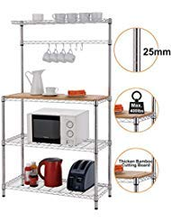Finnhomy 14x36x61 4-Tiers Adjustable Kitchen Bakers Rack Kitchen Cart Microwave Stand with Chrome...