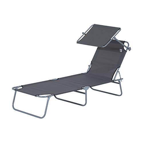 Outsunny Sonnenliege Gartenliege Wellnessliege Strandliege klappbar mit Sonnenschutz (Grau)