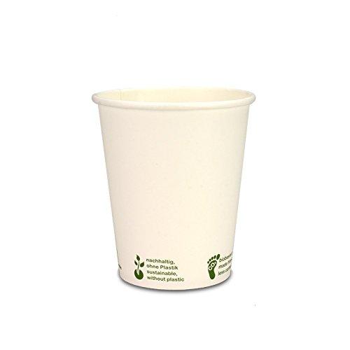 pack2go 1000 kompostierbare Kaffeebecher Urban Leaf - 8oz, 200ml, Coffee to go Becher, Heißgetränke-Pappbecher, Hot Cup aus weißem Hartpapier, toGoPappbecher