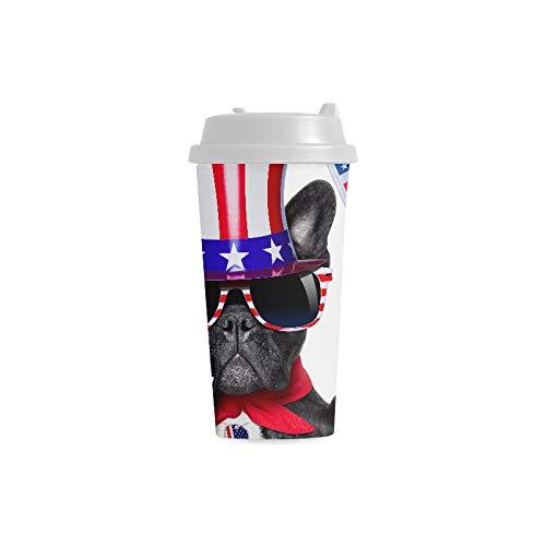 Grande tazza Selfie americano Bulldog francese Prendendo selfie 16 Oz Tazze di plastica a doppia parete Pendolare Viaggi Tazze da caffè per donne Bere sport Tazze di plastica per acqua Bambini