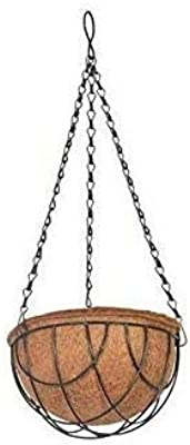 COIR GARDEN Coir Hanging Round Basket 10 INCH 1 Piece - Coco Gardening POTS with Stand - Flower POTS Hanger Garden Decoration Indoor Outdoor Water Hanging Baskets