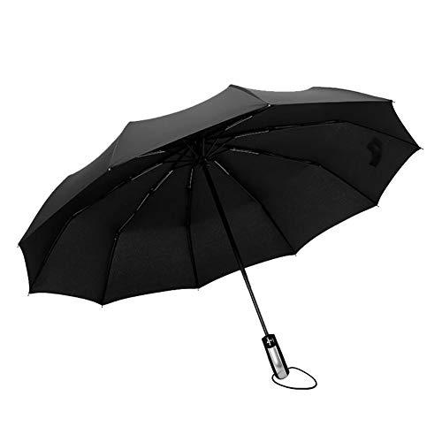 Fablcrew Automatischer Regenschirm Sonnenschirm Kunststoff durchsichtig Taschenschirm automatischem Knopf Sturmfest klein leicht kompakt windsicher stabil Schirm Size 105cm (Schwarz)