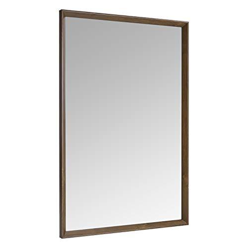 Amazon Basics Espejo para pared rectangular, 60,9 x 91,4 cm - marco biselado, nogal
