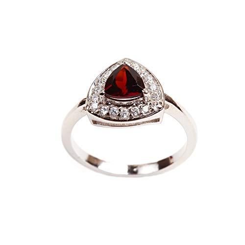 925 de alta calidad de plata esterlina trillón rojo granate blanco topacio anillo de diseñador tamaño 8.25 para mujeres y niñas |Anillo de plata |Anillo de piedras preciosas