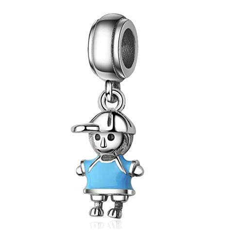 Bolenvi It's A Boy Blue Enamel Son Brother 925 Sterling Silver Charm Bead for Pandora & Similar Charm Bracelets or Necklaces