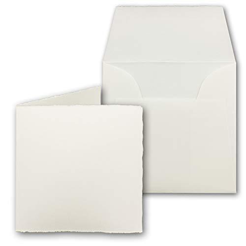 25x quadratisches Vintage Kartenset aus echtem Bütten-Papier - Falt-Karten 11,8 x 11,8 cm + Brief-Umschläge - Mia - doppel-Karten-Set - Naturweiß - Original Zerkall-Bütten