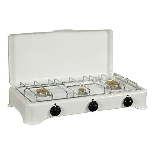 KitchenChef 5327C Gastisch Weiß - Platte (Tisch, Gaskochfeld, emailliert, weiß, drehbar, vorne)