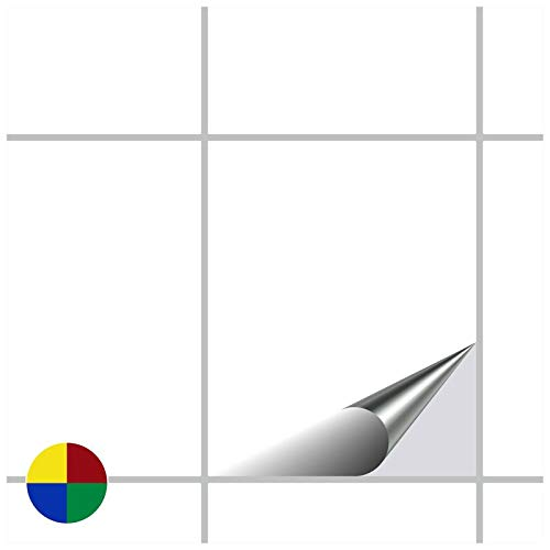 FoLIESEN Fliesenaufkleber 20x25 cm - Fliesen-Folie Bad - Klebefolie Küche - 120 Klebefliesen, Weiß matt