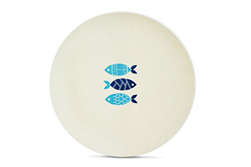 Aquaterra Living Ecofriendly Dinner Plate Set with Fish Designs- Set of 6, 10' indoor or outdoor plates