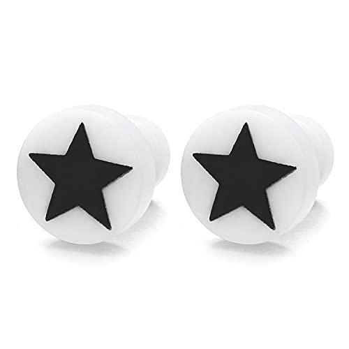 Hombre Mujer Blanco Círculo Pendientes con Pentagrama Estrella Negro, Aretes Acero Enchufe Falso Fake Cheater Plug