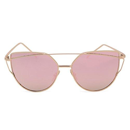 Beyond Dreams® Sonnenbrille Damen   Katzenaugen Rosegold Sonnenbrille   Cat Eye Accessoire   Reflektierende Spiegel Brille   Klassische Vintage Retro Look   Verspiegelte Katze Augen Sommer Mode