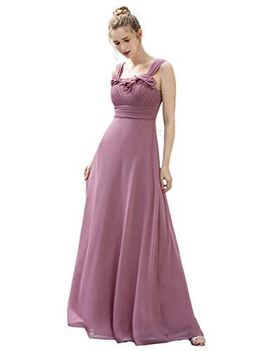 Ever-Pretty Vestiti da Cerimonia Lungo Chiffon Elegante Senza Maniche Stile Impero Plissettato Donna...