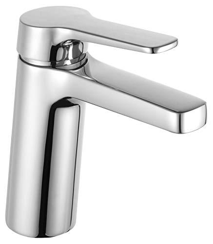 KEUCO Waschtisch-Armatur chrom für Waschbecken im Bad, Höhe 16cm, Einlochmontage, Design-Wasserhahn, Einhandmischer, Waschtischmischer, Moll