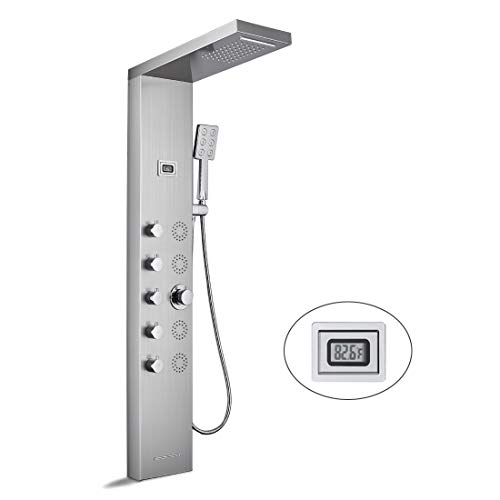 Shower Panel Tower System, Stainless Steel Rainfall Waterfall Shower Head with 5 Function Faucet Rain Massage System and Water Temperature Display (Brushed)