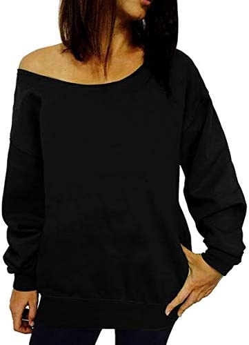 Dutebare Women Off Shoulder Sweatshirt Slouchy Shirt Long Sleeve Pullover Tops Black a S product image
