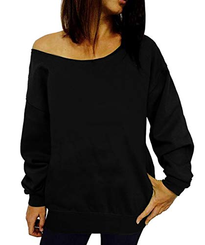 Dutebare Women Off Shoulder Sweatshirt Slouchy Shirt Long Sleeve Pullover Tops Black a 3XL