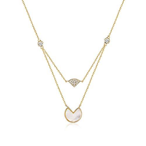 NYKK Collares y Pendientes Shell Capas Círculo Collar Colgante de Collar for Las Mujeres en Forma de Doble Ventilador Decoración de Cadena Pendiente Collares Pendientes