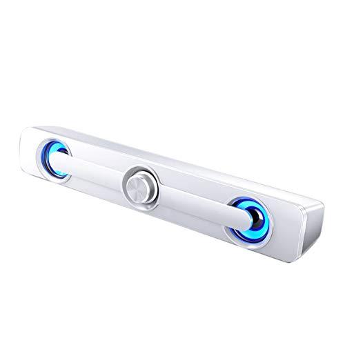 Fltaheroo Cable USB Potente altavoz de computadora, barra de sonido, subwoofer, caja envolvente para PC, portátil, teléfono, tableta, MP3-blanco
