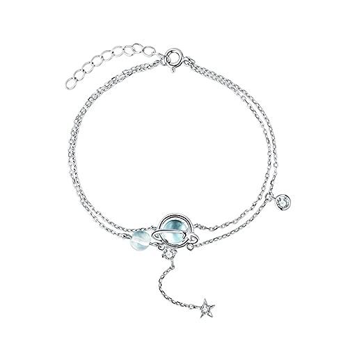 925 pulsera de plata esterlina pulsera impregnada estrella bola colgante pulsera brillante degradado azul y blanco cristal moda fiesta bohemia joyería para mujer regalos para mujer