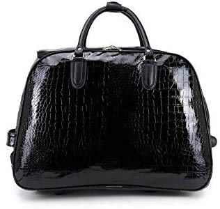 Women's Patent Leather Cabin Size Mock Croc Trolley Holdall Travel Weekend Bag (Black)