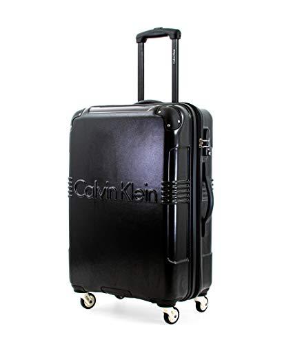 Calvin Klein Delancey Hardside Spinner Luggage with TSA Lock, Black, 24 Inch