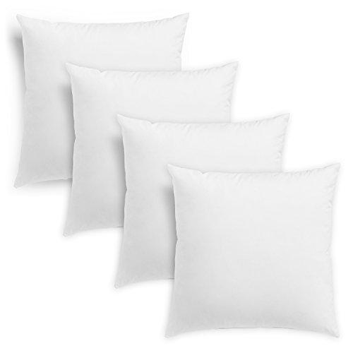 sleepling 193915 Conjunto de 4 Cojines de Plumas con Funda 100% algodón, 50 x 50 cm, Blancos