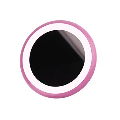 Miroir de maquillage LED Mini HD Miroir portable rechargeable Selfie Fill Light Beignets de couleur bonbon Apparence (Couleur : Rose)