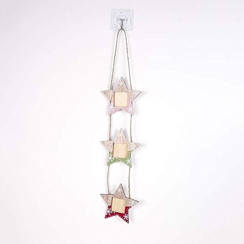 NLRHH 2 stücke holzgemalte Schneeflocke Weihnachten Foto Rahmen Baum String Weihnachten Foto Rahmen Weihnachtsbaum auf anhänger (Pentagram) DIY (Farbe: Pentagramm) Peng (Color : Pentagram)