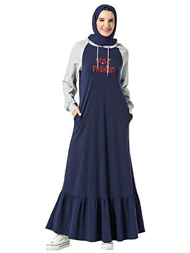 MEYINI Vestidos Largos Abaya para Mujer - Ropa Deportiva de Manga Larga con Capucha Musulmana Traje Informal Tallas Grandes (Sin Hijab)