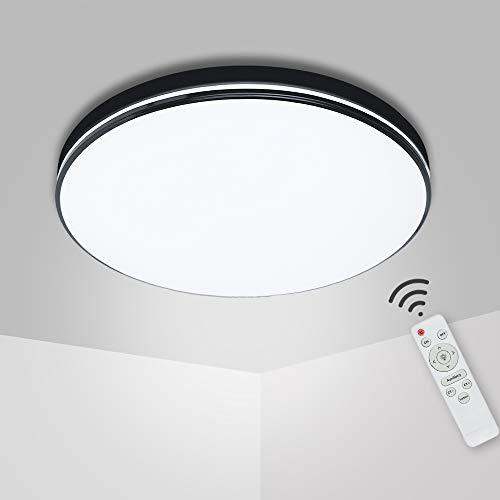 72W LED Deckenleuchte Dimmbar,3800-7600LM Deckenlampe mit Fernbedienung,3200-6500K Deckenleuchten Lichtfarbe Helligkeit Einstellbar für Bad Wohnzimmer Schlafzimmer Balkon Flur Küche Büro Kinderzimmer