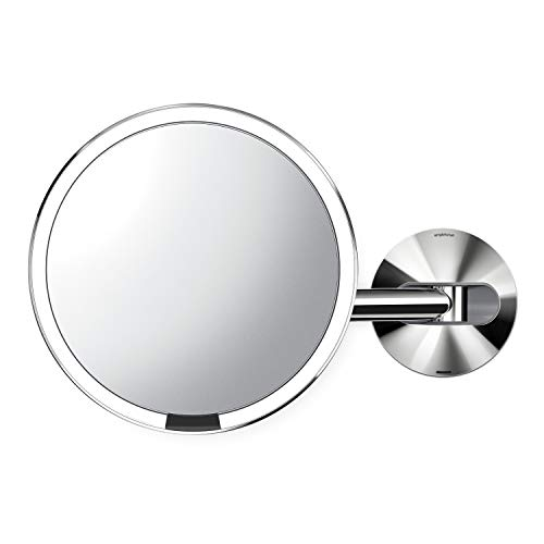 """simplehuman 8"""" Round Wall Mount Sensor Makeup Mirror, 5x Magnification Rechargeable and Cordless, Polished Stainless Steel"""