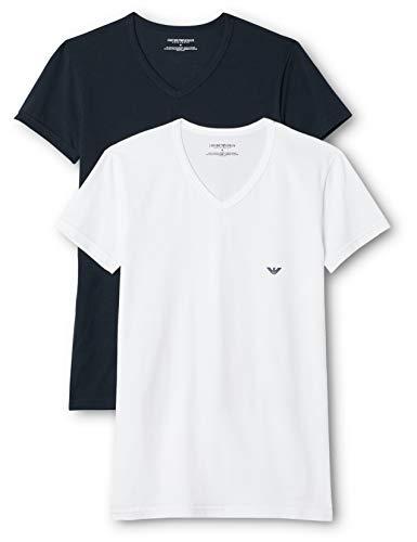 Emporio Armani CC717-111512, Camiseta para Hombre, Pack de 2, Multicolor (Blanco/Azul Oscuro), M